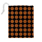 CIRCLES1 BLACK MARBLE & RUSTED METAL (R) Drawstring Pouches (Extra Large) Back
