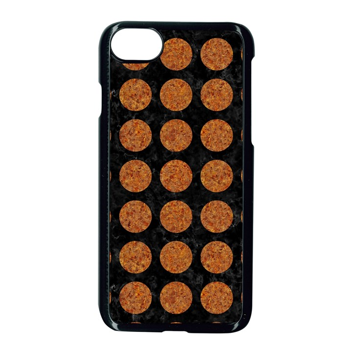 CIRCLES1 BLACK MARBLE & RUSTED METAL (R) Apple iPhone 7 Seamless Case (Black)