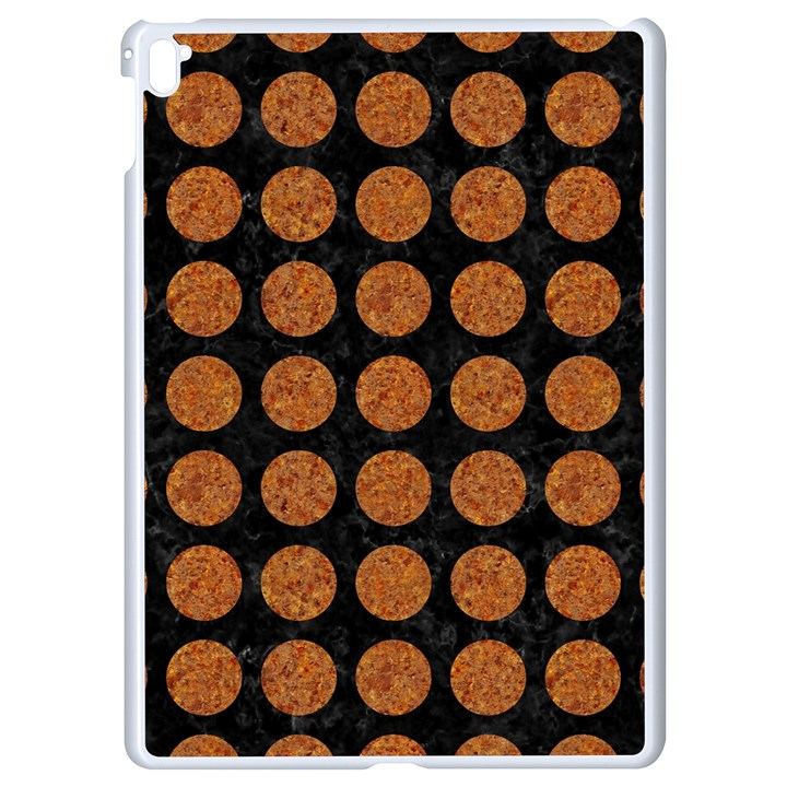 CIRCLES1 BLACK MARBLE & RUSTED METAL (R) Apple iPad Pro 9.7   White Seamless Case