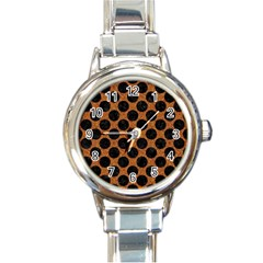 Circles2 Black Marble & Rusted Metal Round Italian Charm Watch