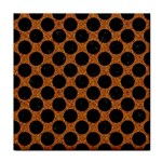 CIRCLES2 BLACK MARBLE & RUSTED METAL Tile Coasters Front
