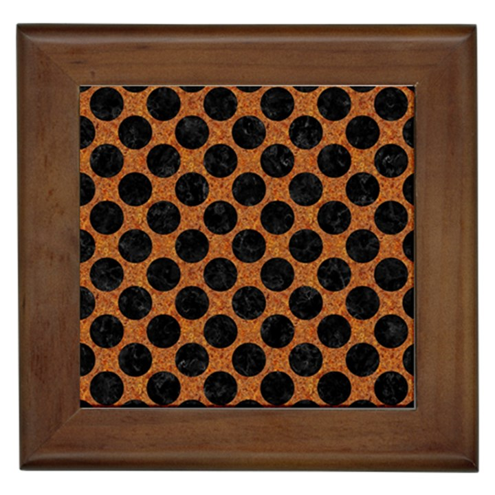 CIRCLES2 BLACK MARBLE & RUSTED METAL Framed Tiles