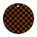 CIRCLES2 BLACK MARBLE & RUSTED METAL Ornament (Round) Front