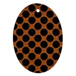 CIRCLES2 BLACK MARBLE & RUSTED METAL Ornament (Oval) Front