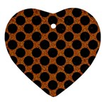 CIRCLES2 BLACK MARBLE & RUSTED METAL Ornament (Heart) Front