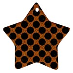 CIRCLES2 BLACK MARBLE & RUSTED METAL Ornament (Star) Front