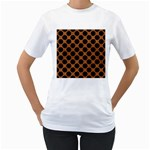 CIRCLES2 BLACK MARBLE & RUSTED METAL Women s T-Shirt (White) (Two Sided) Front