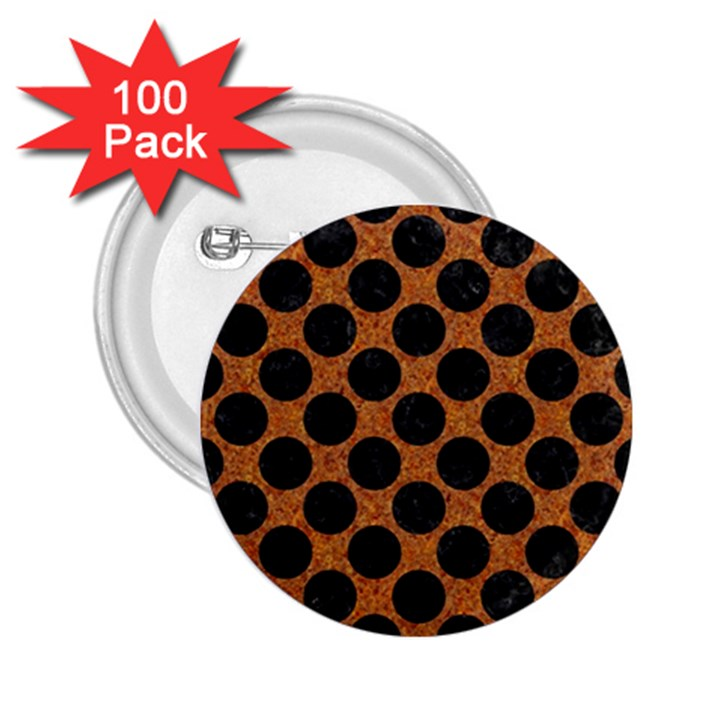 CIRCLES2 BLACK MARBLE & RUSTED METAL 2.25  Buttons (100 pack)