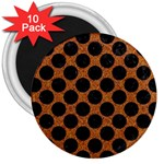 CIRCLES2 BLACK MARBLE & RUSTED METAL 3  Magnets (10 pack)  Front