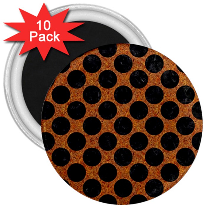 CIRCLES2 BLACK MARBLE & RUSTED METAL 3  Magnets (10 pack)