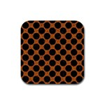 CIRCLES2 BLACK MARBLE & RUSTED METAL Rubber Coaster (Square)  Front