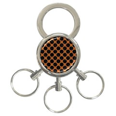 Circles2 Black Marble & Rusted Metal 3 Ring Key Chains