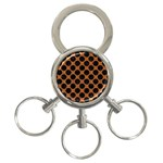 CIRCLES2 BLACK MARBLE & RUSTED METAL 3-Ring Key Chains Front