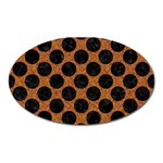 CIRCLES2 BLACK MARBLE & RUSTED METAL Oval Magnet Front