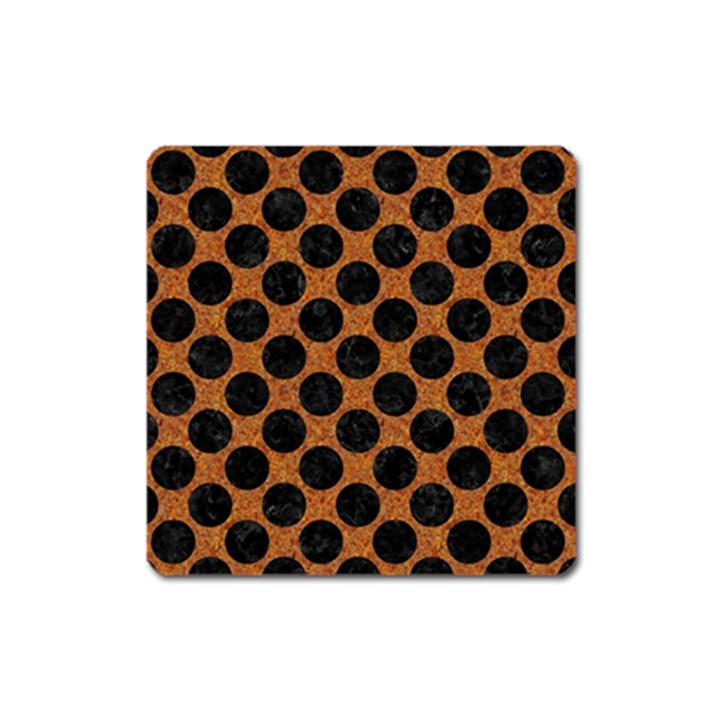 CIRCLES2 BLACK MARBLE & RUSTED METAL Square Magnet