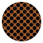 CIRCLES2 BLACK MARBLE & RUSTED METAL Magnet 5  (Round) Front