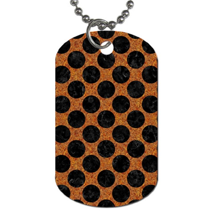 CIRCLES2 BLACK MARBLE & RUSTED METAL Dog Tag (Two Sides)