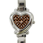 CIRCLES2 BLACK MARBLE & RUSTED METAL Heart Italian Charm Watch Front