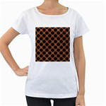 CIRCLES2 BLACK MARBLE & RUSTED METAL Women s Loose-Fit T-Shirt (White) Front