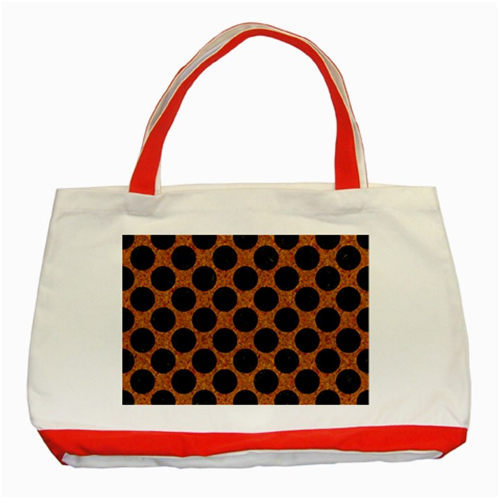 CIRCLES2 BLACK MARBLE & RUSTED METAL Classic Tote Bag (Red)