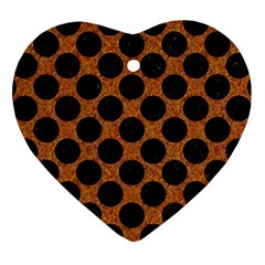Circles2 Black Marble & Rusted Metal Heart Ornament (two Sides)