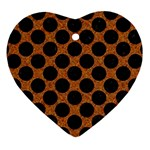 CIRCLES2 BLACK MARBLE & RUSTED METAL Heart Ornament (Two Sides) Front