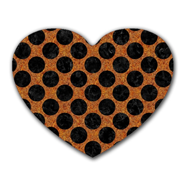 CIRCLES2 BLACK MARBLE & RUSTED METAL Heart Mousepads