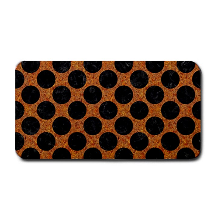 CIRCLES2 BLACK MARBLE & RUSTED METAL Medium Bar Mats