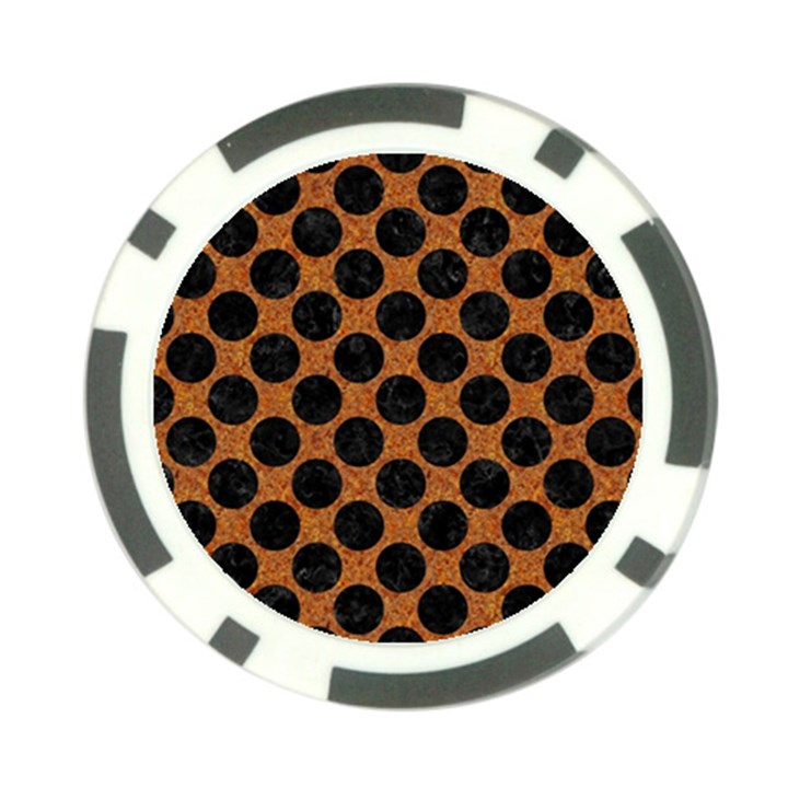 CIRCLES2 BLACK MARBLE & RUSTED METAL Poker Chip Card Guard