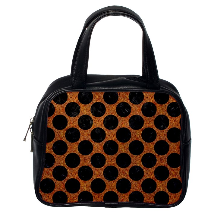 CIRCLES2 BLACK MARBLE & RUSTED METAL Classic Handbags (One Side)