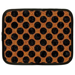 Circles2 Black Marble & Rusted Metal Netbook Case (xl)