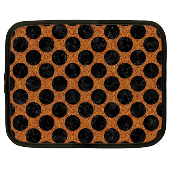 CIRCLES2 BLACK MARBLE & RUSTED METAL Netbook Case (XXL)