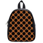 CIRCLES2 BLACK MARBLE & RUSTED METAL School Bag (Small) Front