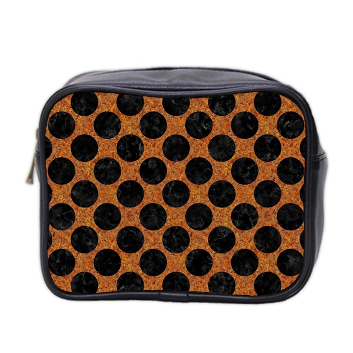 CIRCLES2 BLACK MARBLE & RUSTED METAL Mini Toiletries Bag 2-Side