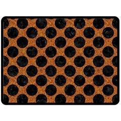 Circles2 Black Marble & Rusted Metal Fleece Blanket (large)