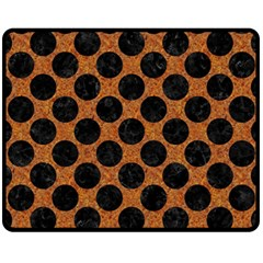 Circles2 Black Marble & Rusted Metal Fleece Blanket (medium)