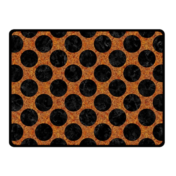 CIRCLES2 BLACK MARBLE & RUSTED METAL Fleece Blanket (Small)