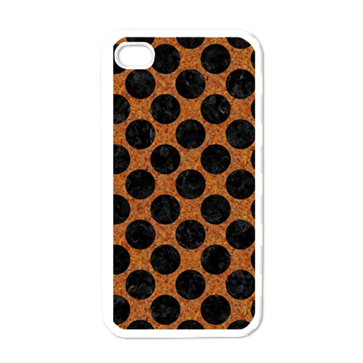 CIRCLES2 BLACK MARBLE & RUSTED METAL Apple iPhone 4 Case (White)