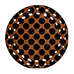 CIRCLES2 BLACK MARBLE & RUSTED METAL Round Filigree Ornament (Two Sides) Front