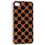 CIRCLES2 BLACK MARBLE & RUSTED METAL Apple iPhone 4/4s Seamless Case (White) Front