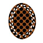 CIRCLES2 BLACK MARBLE & RUSTED METAL Oval Filigree Ornament (Two Sides) Front