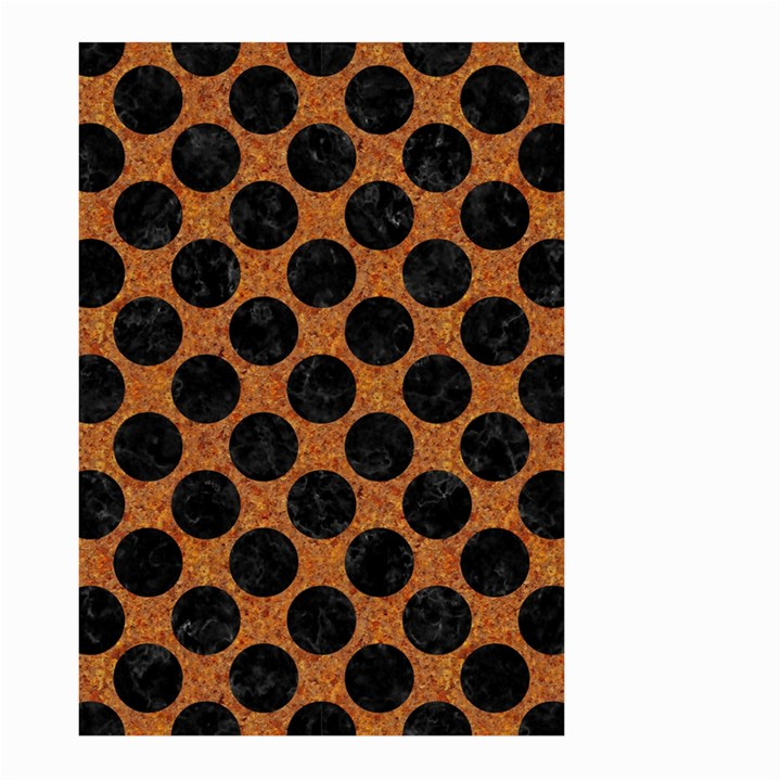CIRCLES2 BLACK MARBLE & RUSTED METAL Large Garden Flag (Two Sides)