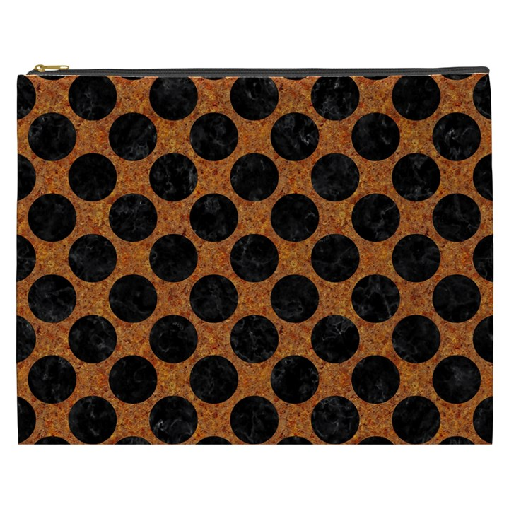 CIRCLES2 BLACK MARBLE & RUSTED METAL Cosmetic Bag (XXXL)