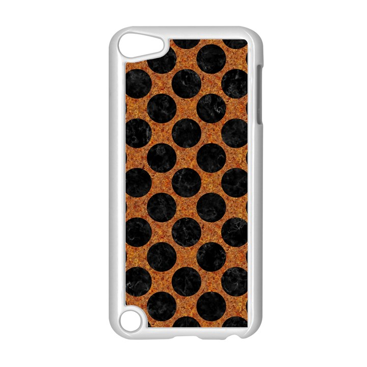 CIRCLES2 BLACK MARBLE & RUSTED METAL Apple iPod Touch 5 Case (White)