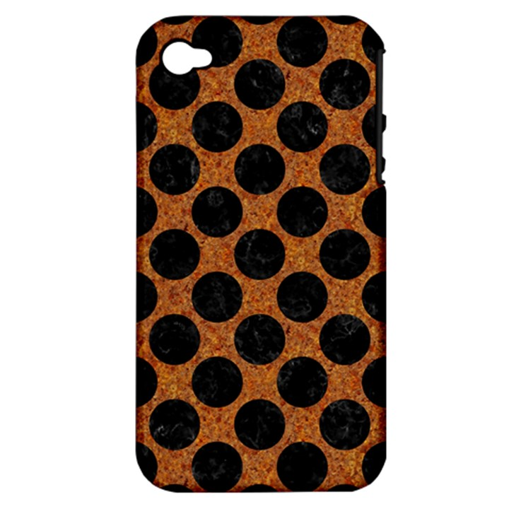 CIRCLES2 BLACK MARBLE & RUSTED METAL Apple iPhone 4/4S Hardshell Case (PC+Silicone)