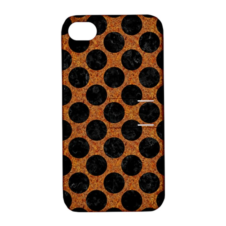 CIRCLES2 BLACK MARBLE & RUSTED METAL Apple iPhone 4/4S Hardshell Case with Stand