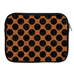 Circles2 Black Marble & Rusted Metal Apple Ipad 2/3/4 Zipper Cases