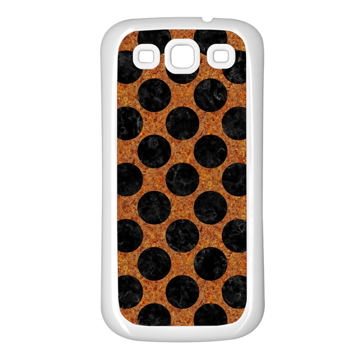 CIRCLES2 BLACK MARBLE & RUSTED METAL Samsung Galaxy S3 Back Case (White)