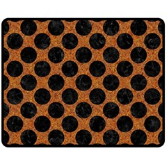 Circles2 Black Marble & Rusted Metal Double Sided Fleece Blanket (medium)