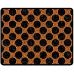 CIRCLES2 BLACK MARBLE & RUSTED METAL Double Sided Fleece Blanket (Medium)  58.8 x47.4 Blanket Front